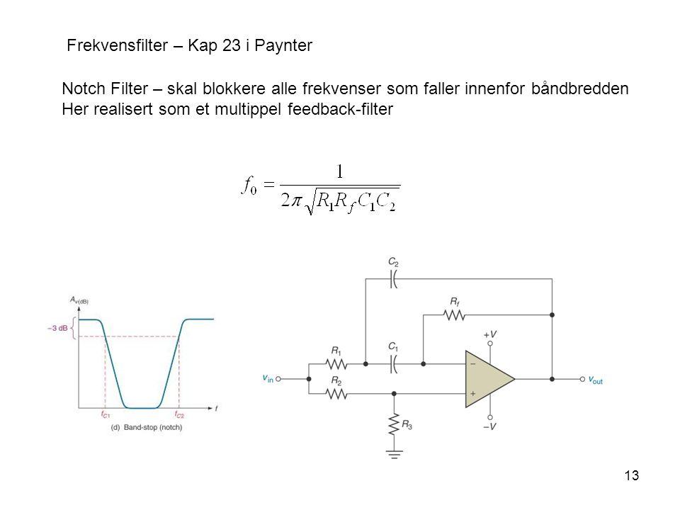13 Frekvensfilter – Kap 23 i Paynter Notch Filter – skal blokkere alle frekvenser som faller innenfor båndbredden Her realisert som et multippel feedback-filter