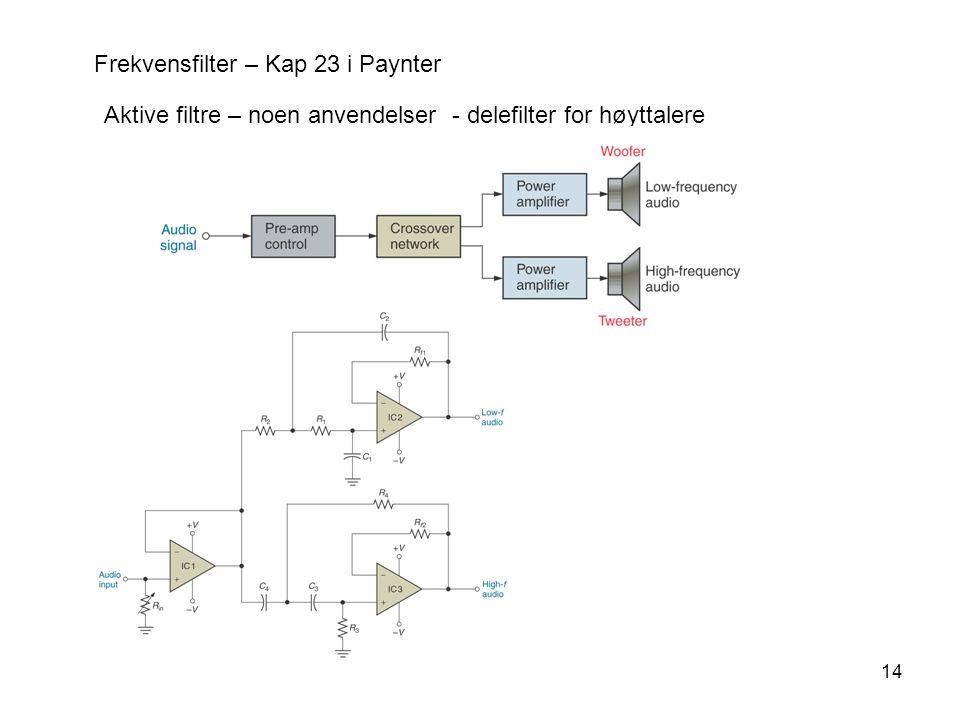 14 Frekvensfilter – Kap 23 i Paynter Aktive filtre – noen anvendelser - delefilter for høyttalere