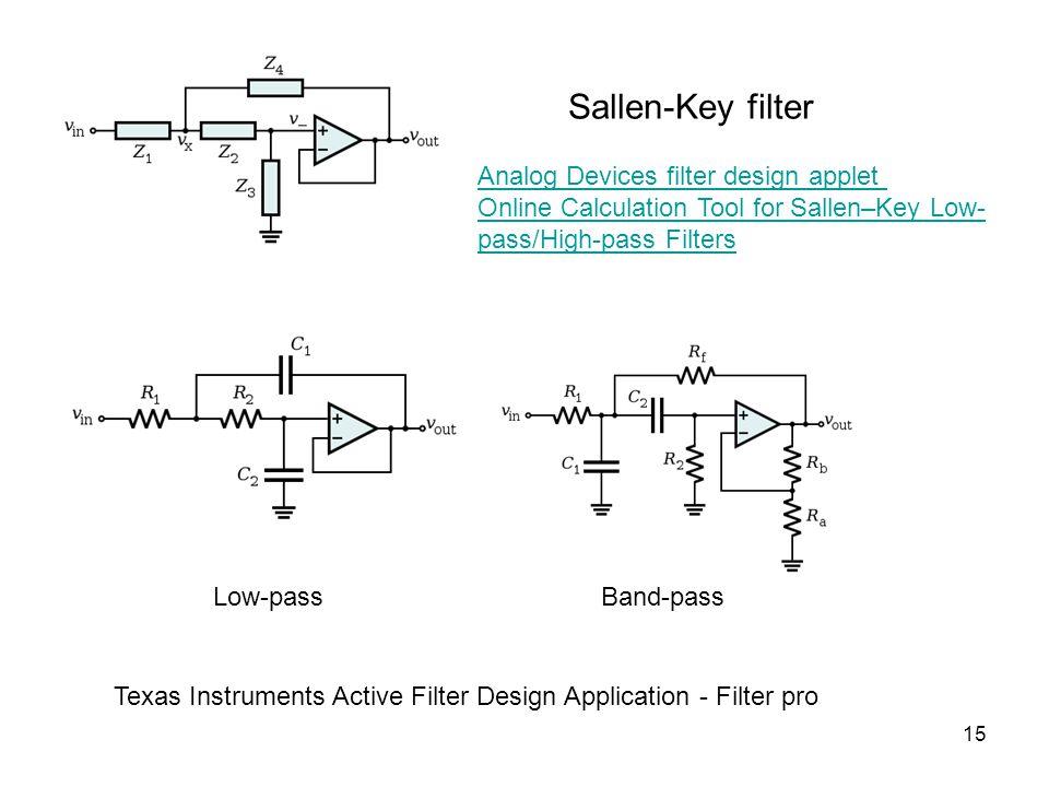 15 Sallen-Key filter Low-passBand-pass Analog Devices filter design applet Online Calculation Tool for Sallen–Key Low- pass/High-pass Filters Texas Instruments Active Filter Design Application - Filter pro
