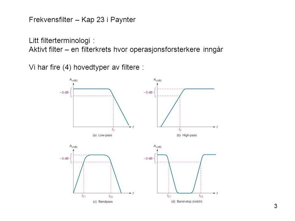 3 Frekvensfilter – Kap 23 i Paynter Litt filterterminologi : Aktivt filter – en filterkrets hvor operasjonsforsterkere inngår Vi har fire (4) hovedtyper av filtere :