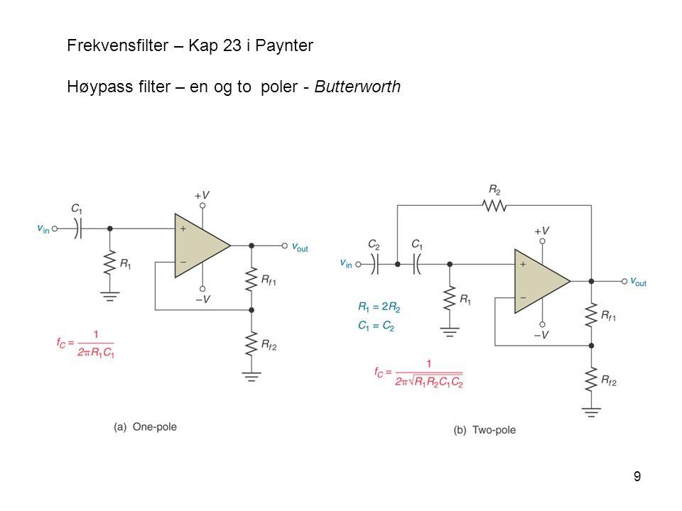 9 Frekvensfilter – Kap 23 i Paynter Høypass filter – en og to poler - Butterworth