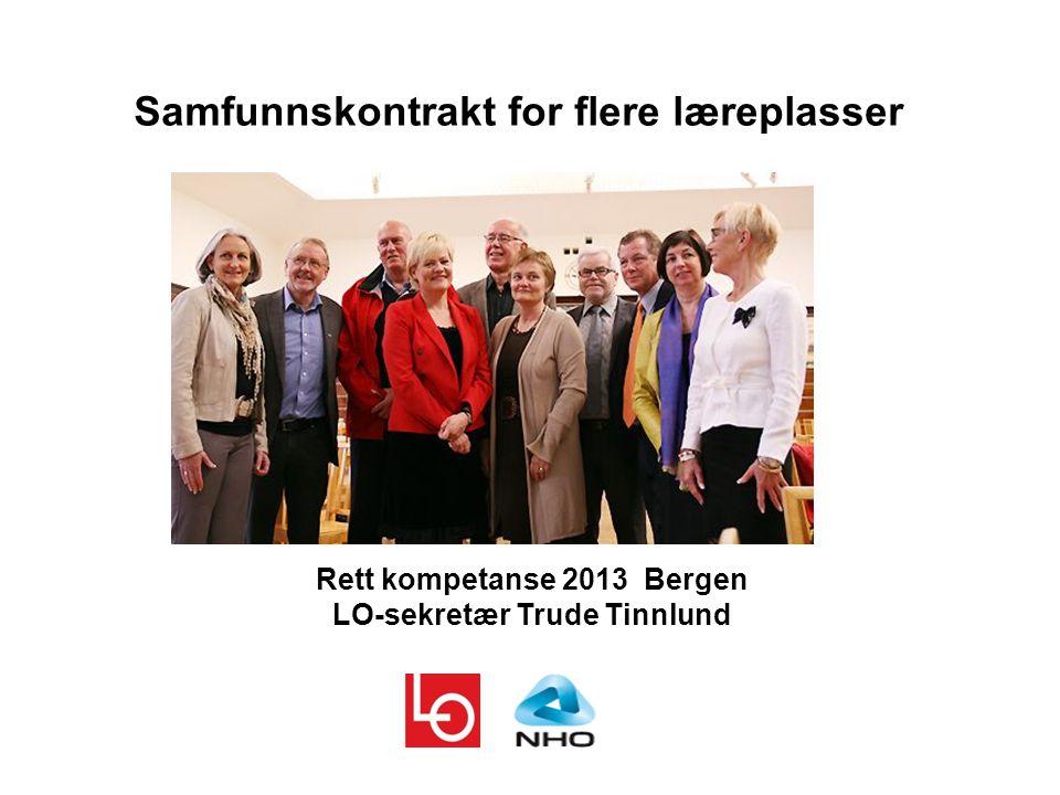 Samfunnskontrakt for flere læreplasser Rett kompetanse 2013 Bergen LO-sekretær Trude Tinnlund