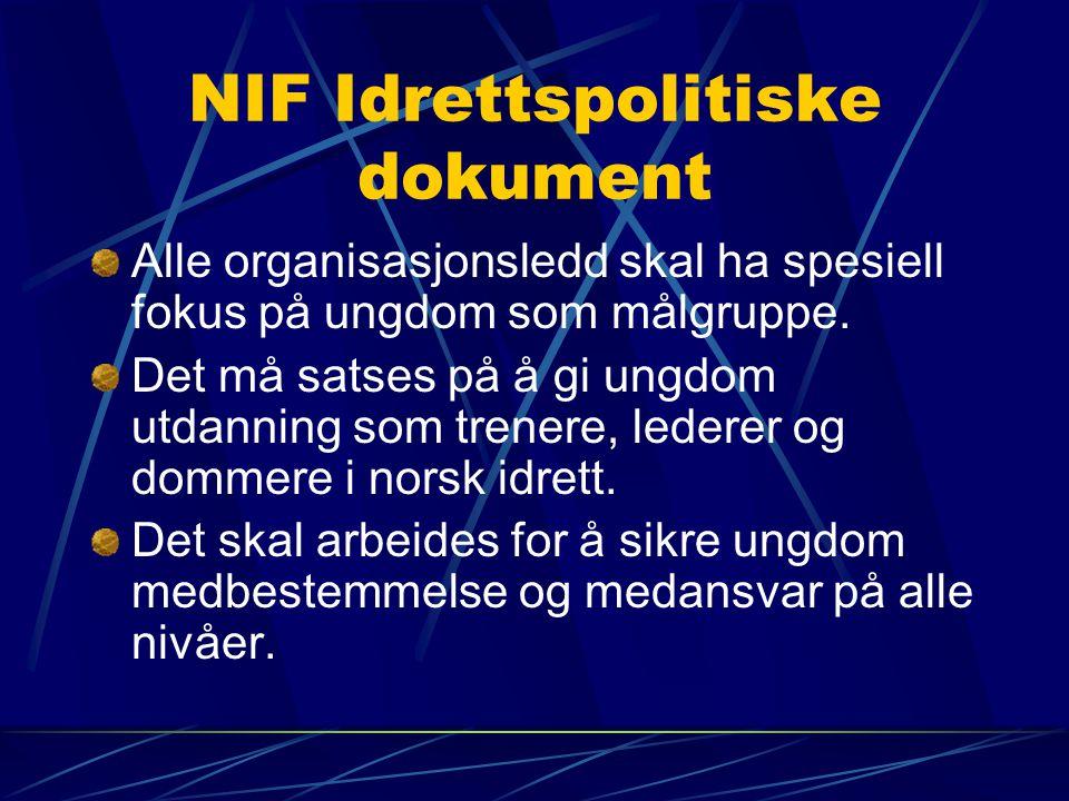 NIF Idrettspolitiske dokument Alle organisasjonsledd skal ha spesiell fokus på ungdom som målgruppe.
