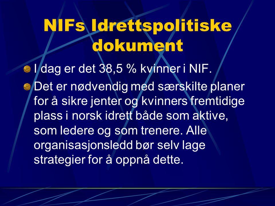 NIFs Idrettspolitiske dokument I dag er det 38,5 % kvinner i NIF.