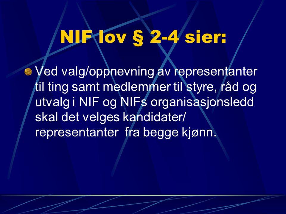 NIF lov § 2-4 sier: Ved valg/oppnevning av representanter til ting samt medlemmer til styre, råd og utvalg i NIF og NIFs organisasjonsledd skal det velges kandidater/ representanter fra begge kjønn.