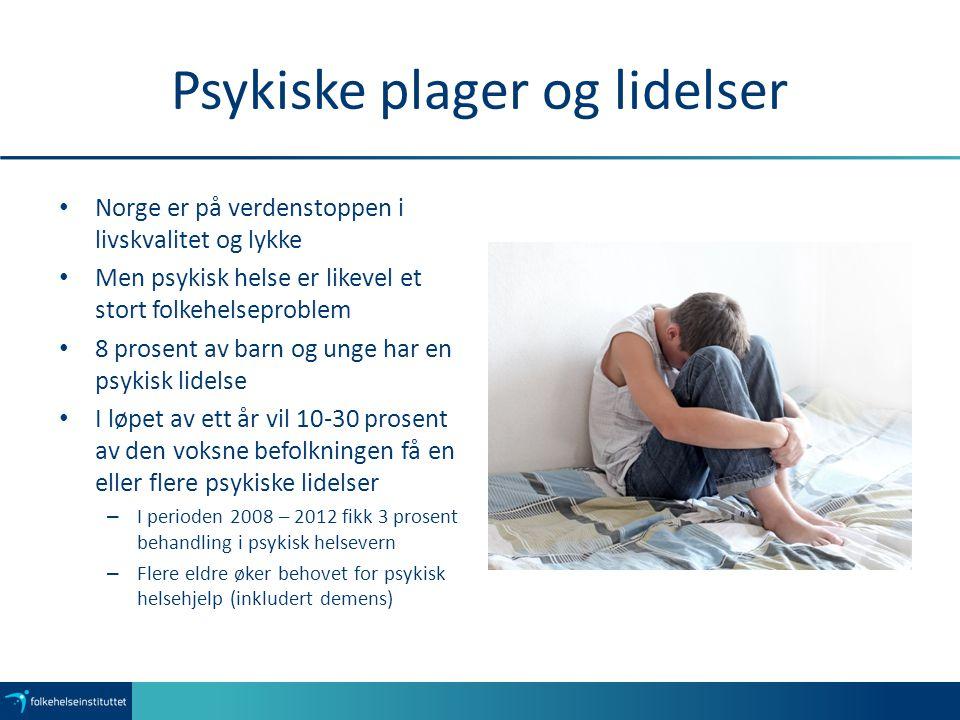 Psykiske plager og lidelser Norge er på verdenstoppen i livskvalitet og lykke Men psykisk helse er likevel et stort folkehelseproblem 8 prosent av bar