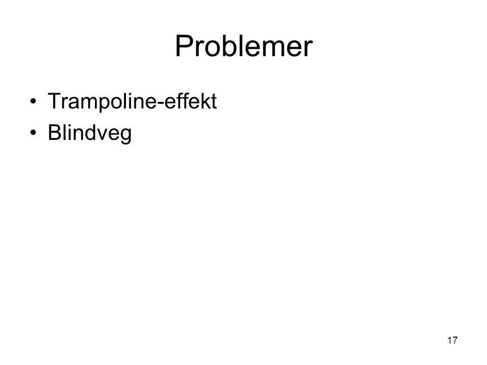 17 Problemer Trampoline-effekt Blindveg