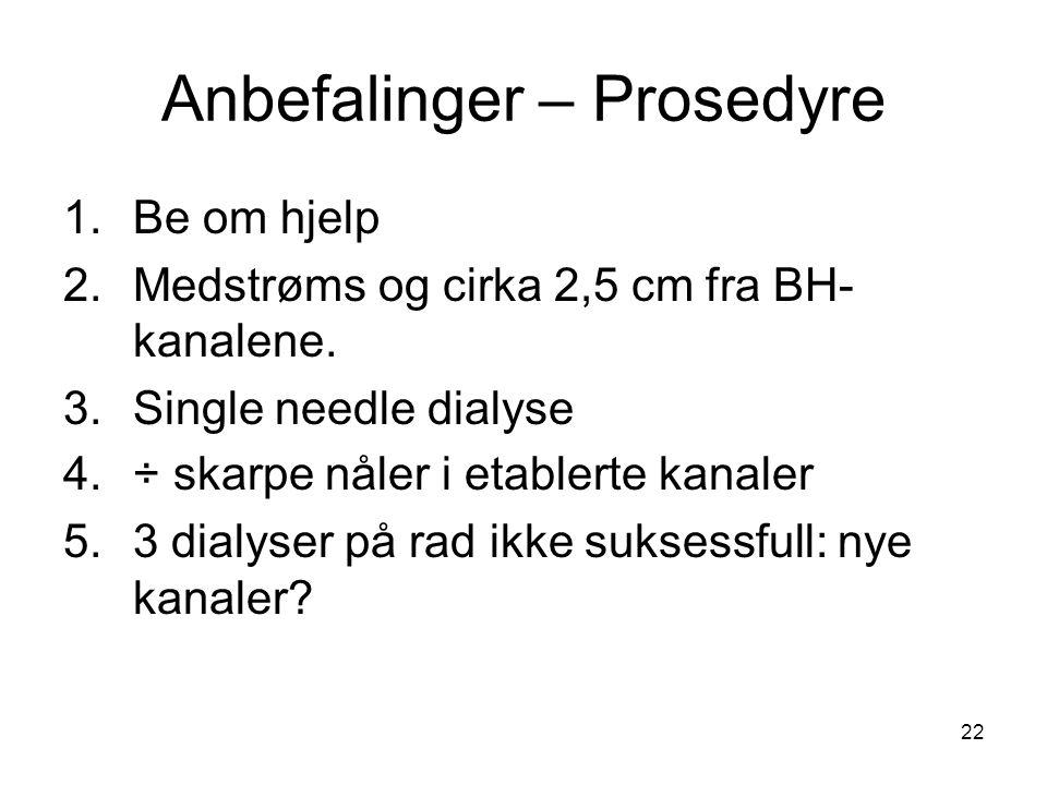22 Anbefalinger – Prosedyre 1.Be om hjelp 2.Medstrøms og cirka 2,5 cm fra BH- kanalene. 3.Single needle dialyse 4.÷ skarpe nåler i etablerte kanaler 5