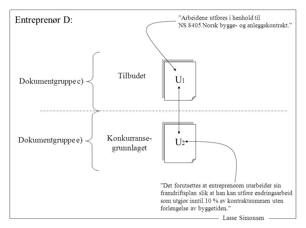 """Lasse Simonsen U1U1 U1U1 U2U2 U2U2 Konkurranse- grunnlaget Tilbudet Entreprenør D: Dokumentgruppe e) Dokumentgruppe c) """"Det forutsettes at entreprenør"""