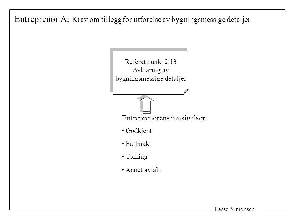 Lasse Simonsen Entreprenør A: Krav om tillegg for utførelse av bygningsmessige detaljer Referat punkt 2.13 Avklaring av bygningsmessige detaljer Refer