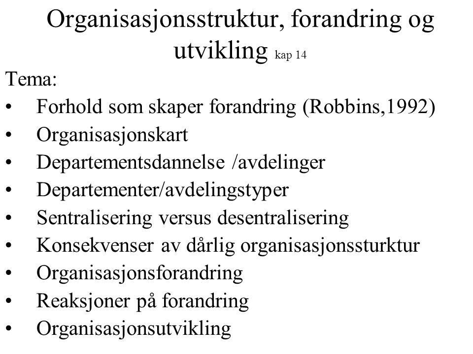 Organisasjonsstruktur, forandring og utvikling kap 14 Tema: Forhold som skaper forandring (Robbins,1992) Organisasjonskart Departementsdannelse /avdel