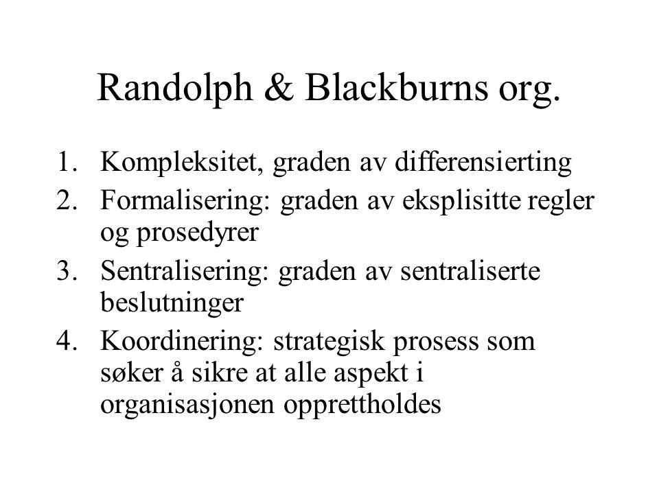 Randolph & Blackburns org. 1.Kompleksitet, graden av differensierting 2.Formalisering: graden av eksplisitte regler og prosedyrer 3.Sentralisering: gr