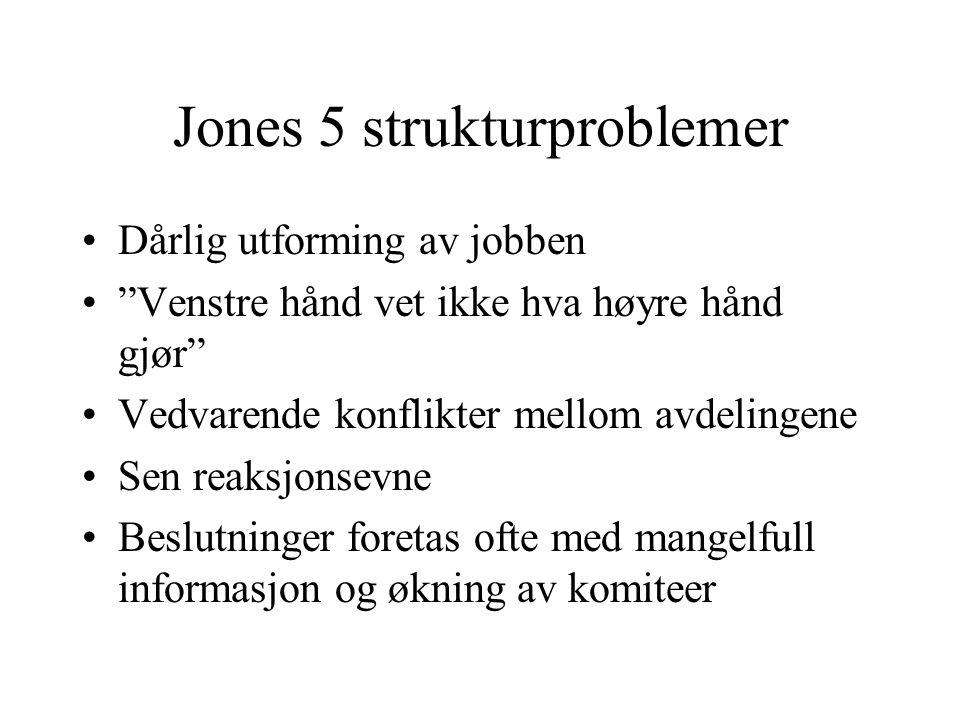 """Jones 5 strukturproblemer Dårlig utforming av jobben """"Venstre hånd vet ikke hva høyre hånd gjør"""" Vedvarende konflikter mellom avdelingene Sen reaksjon"""