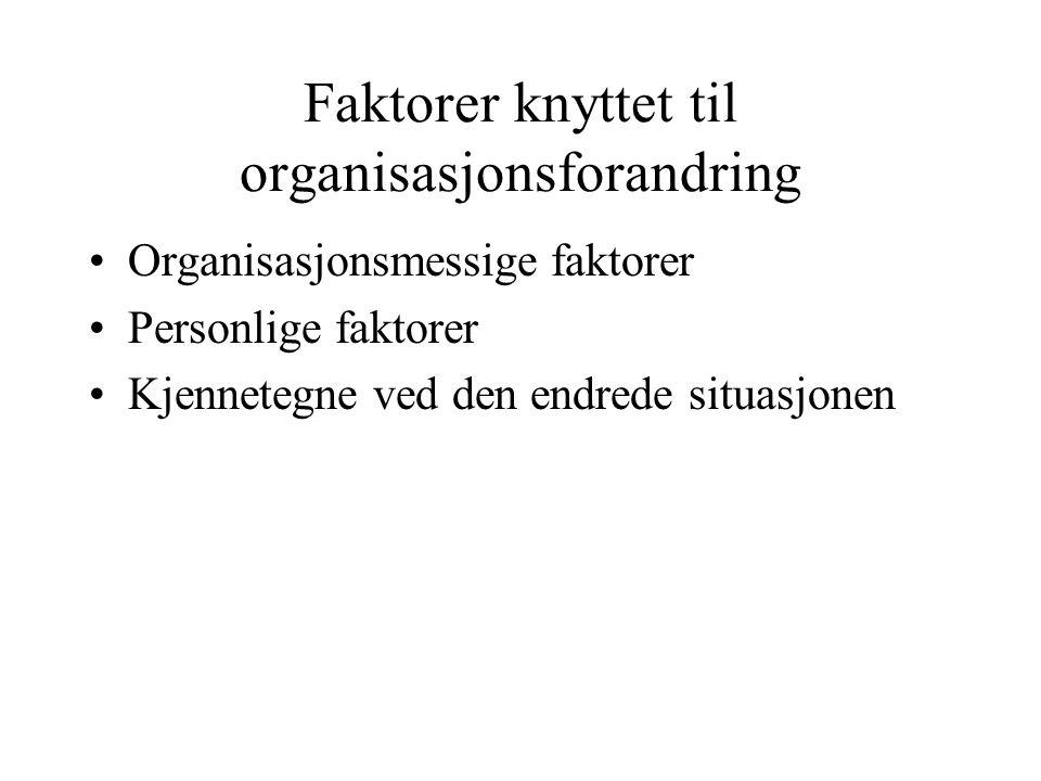 Faktorer knyttet til organisasjonsforandring Organisasjonsmessige faktorer Personlige faktorer Kjennetegne ved den endrede situasjonen