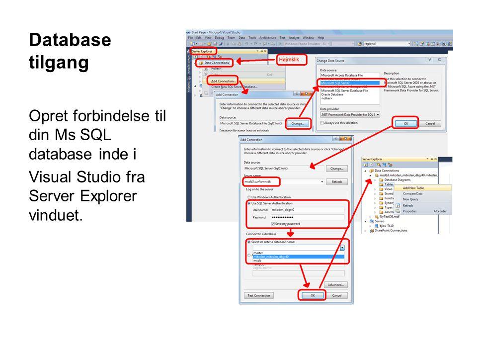 Connection til MsSql-database System.Data.IDbConnection con = new System.Data.SqlClient.SqlConnection(); con.ConnectionString = @ Data Source=.\SQLEXPRESS;AttachDbFilename= DataDirectory \MinDatabase.mdf;Integrated Security=True;User Instance=True ; Bemærk at din connectionstring er specifik for din konkrete database.