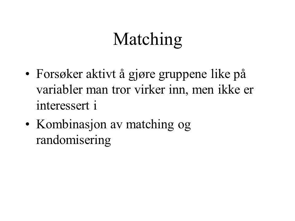 Matching Forsøker aktivt å gjøre gruppene like på variabler man tror virker inn, men ikke er interessert i Kombinasjon av matching og randomisering