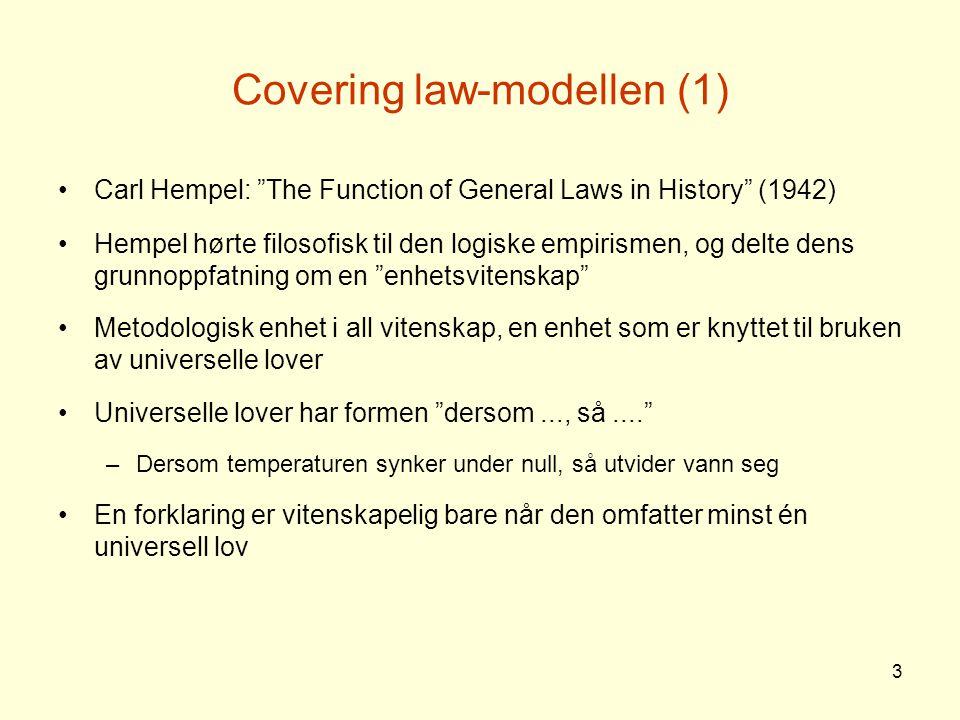 4 Covering law-modellen (2) Det man vil forklare, følger med nødvendighet av den generelle loven og de konkrete situasjonsbetingelsene (deduksjon) Et eksempel fra Hempel: Hvorfor gikk bilradiatoren i stykker en kald vinternatt.