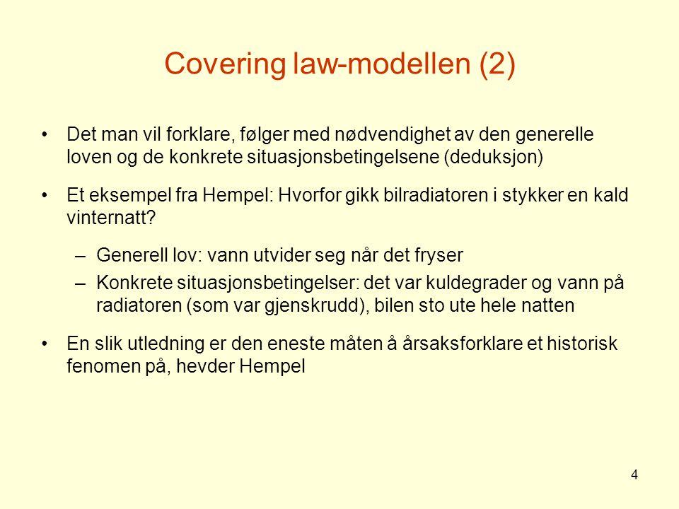 5 Covering law-modellen (3) Hempel kalte sin forklaringstype covering law-modellen , fordi den gikk ut på å formulere lovmessige sammenhenger som var dekkende ( covering ) for de konkrete fenomenene som ble studert F eks vil covering law-modellen innebære at vi forsøker å forklare hendelsene i Norge i 1814 ved å innordne begivenhetene under generelle teorier om konstitusjonell endring og unionsoppløsning Hempel påstår at –historikere følger covering law-modellen selv om de ikke er seg dette bevisst –lovene som brukes til å forklare enkelttilfeller, hentes ofte fra andre vitenskaper