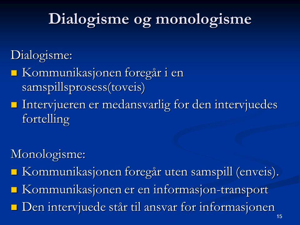 15 Dialogisme og monologisme Dialogisme: Kommunikasjonen foregår i en samspillsprosess(toveis) Kommunikasjonen foregår i en samspillsprosess(toveis) I