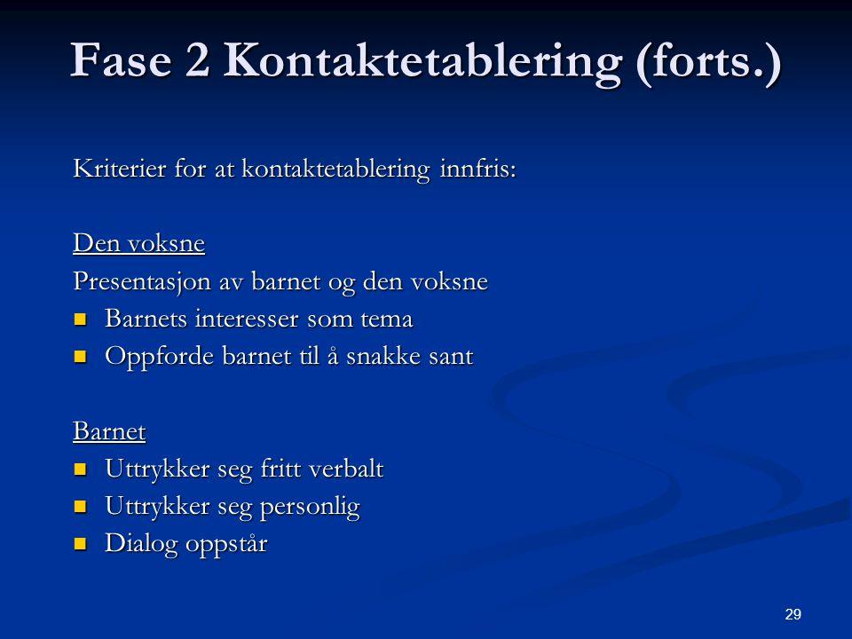 29 Fase 2 Kontaktetablering (forts.) Kriterier for at kontaktetablering innfris: Den voksne Presentasjon av barnet og den voksne Barnets interesser so