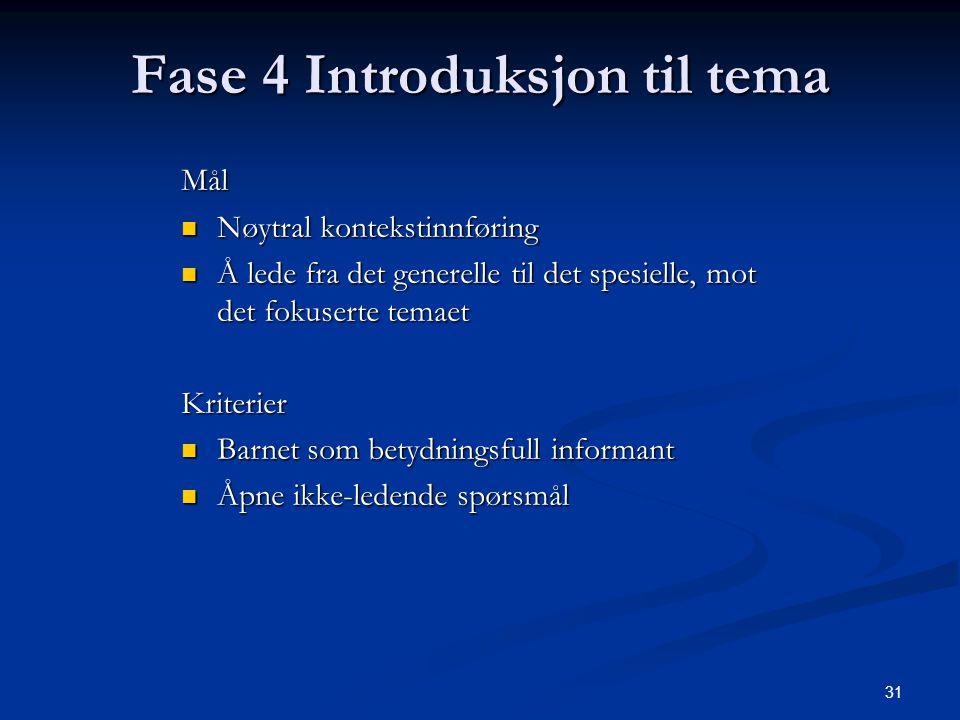 31 Fase 4 Introduksjon til tema Mål Nøytral kontekstinnføring Nøytral kontekstinnføring Å lede fra det generelle til det spesielle, mot det fokuserte