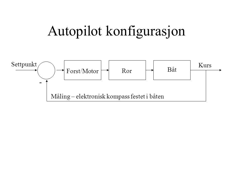 Autopilot konfigurasjon Båt Ror Kurs Settpunkt Forst/Motor - Måling – elektronisk kompass festet i båten