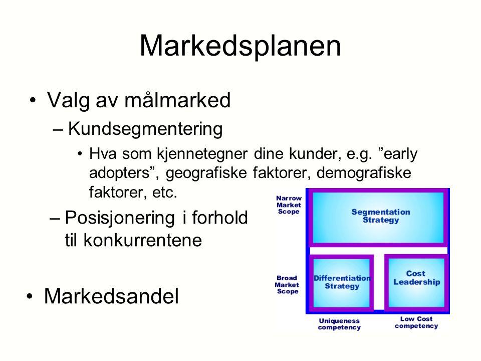 """Markedsplanen Valg av målmarked –Kundsegmentering Hva som kjennetegner dine kunder, e.g. """"early adopters"""", geografiske faktorer, demografiske faktorer"""