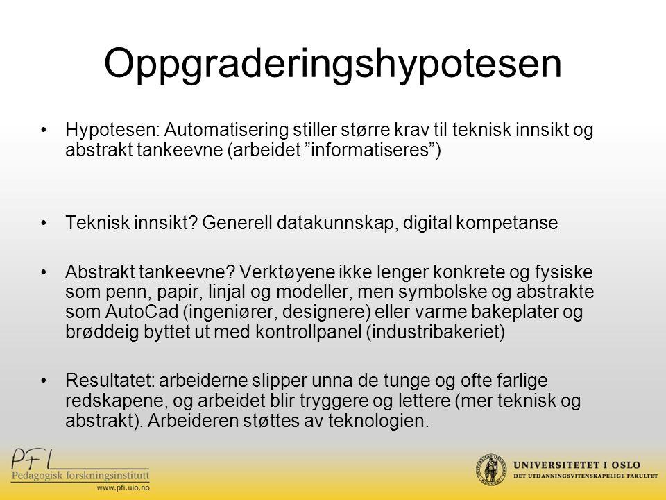 Oppgraderingshypotesen Hypotesen: Automatisering stiller større krav til teknisk innsikt og abstrakt tankeevne (arbeidet informatiseres ) Teknisk innsikt.