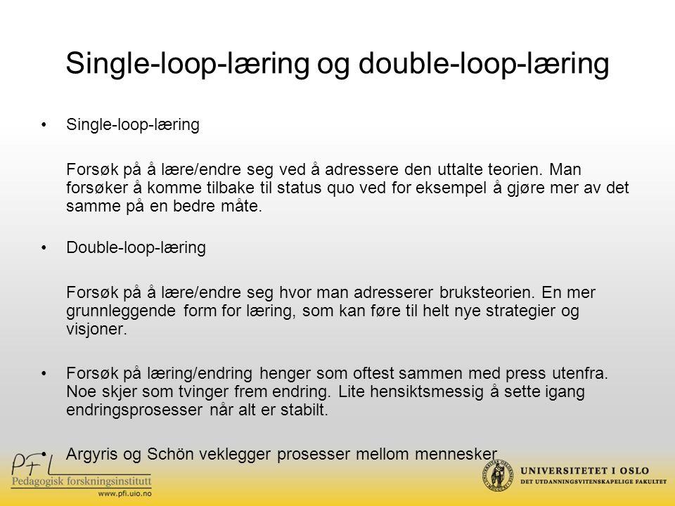 Single-loop-læring og double-loop-læring Single-loop-læring Forsøk på å lære/endre seg ved å adressere den uttalte teorien.