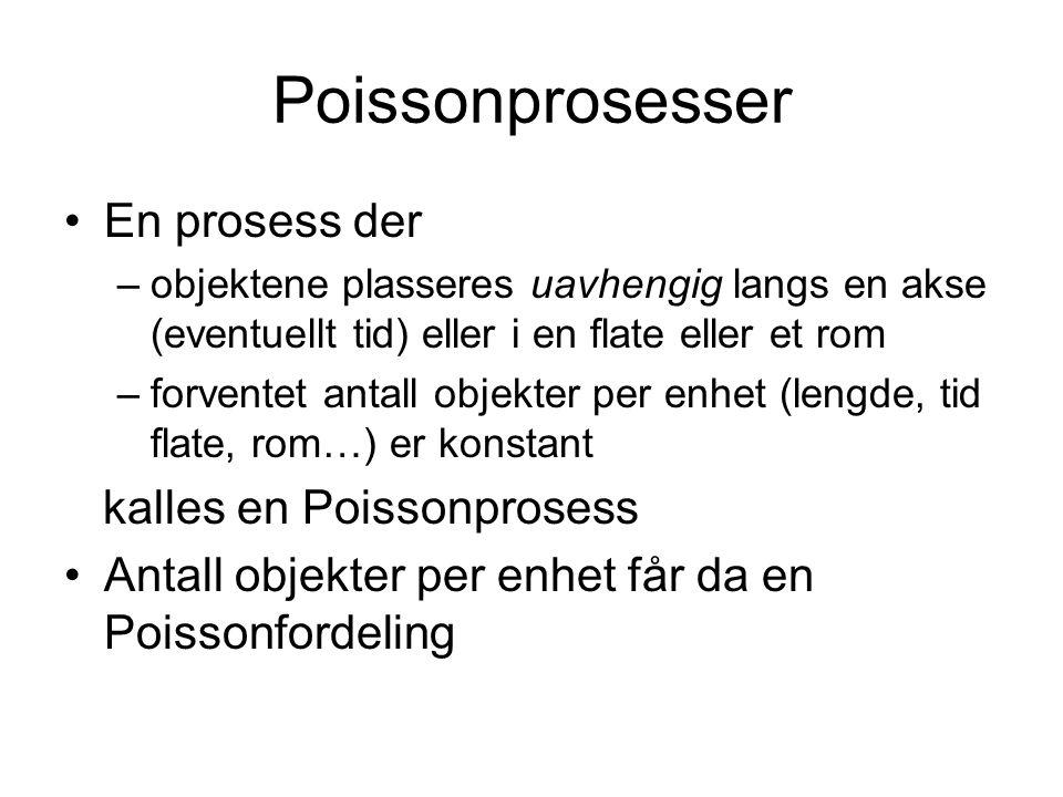 Poissonprosesser En prosess der –objektene plasseres uavhengig langs en akse (eventuellt tid) eller i en flate eller et rom –forventet antall objekter