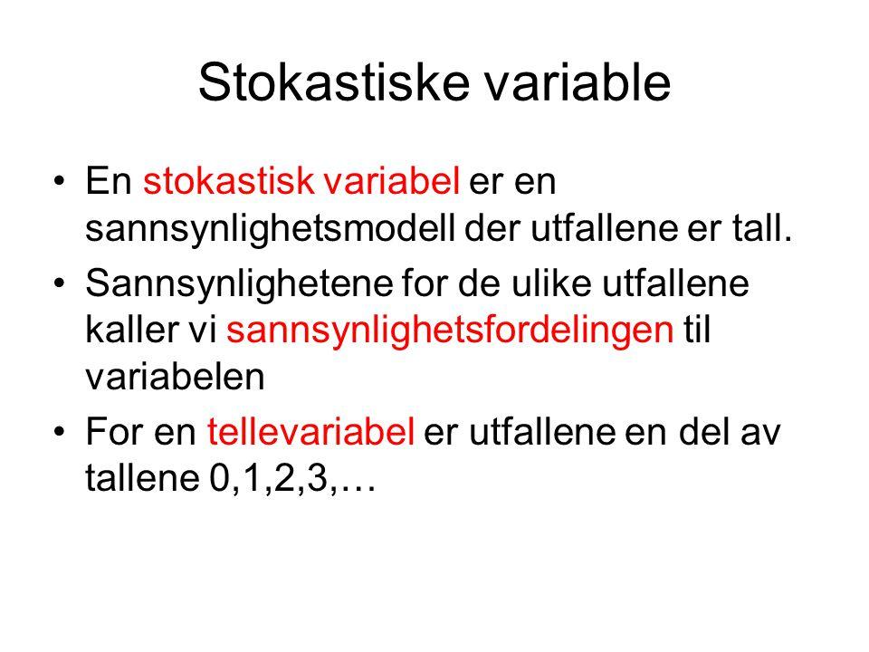 Stokastiske variable En stokastisk variabel er en sannsynlighetsmodell der utfallene er tall. Sannsynlighetene for de ulike utfallene kaller vi sannsy