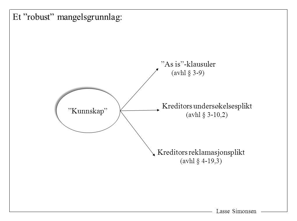 """Lasse Simonsen """"Kunnskap"""" """"As is""""-klausuler (avhl § 3-9) Kreditors undersøkelsesplikt (avhl § 3-10,2) Kreditors reklamasjonsplikt (avhl § 4-19,3) Et """""""