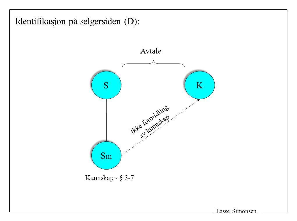 Lasse Simonsen K K Identifikasjon på selgersiden (D): Avtale Kunnskap - § 3-7 S S SmSm SmSm Ikke formidling av kunnskap
