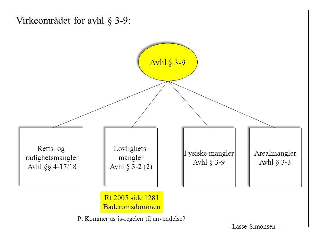 Lasse Simonsen Virkeområdet for avhl § 3-9: Avhl § 3-9 Lovlighets- mangler Avhl § 3-2 (2) Lovlighets- mangler Avhl § 3-2 (2) Fysiske mangler Avhl § 3-