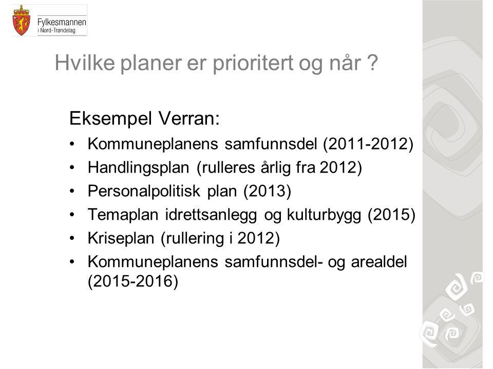 Hvilke planer er prioritert og når ? Eksempel Verran: Kommuneplanens samfunnsdel (2011-2012) Handlingsplan (rulleres årlig fra 2012) Personalpolitisk