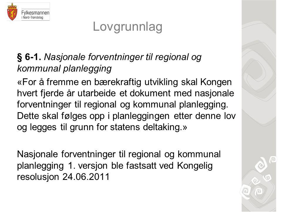 Lovgrunnlag § 6-1. Nasjonale forventninger til regional og kommunal planlegging «For å fremme en bærekraftig utvikling skal Kongen hvert fjerde år uta