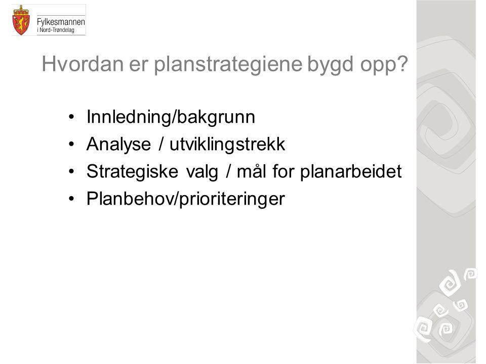 Hvordan er planstrategiene bygd opp? Innledning/bakgrunn Analyse / utviklingstrekk Strategiske valg / mål for planarbeidet Planbehov/prioriteringer