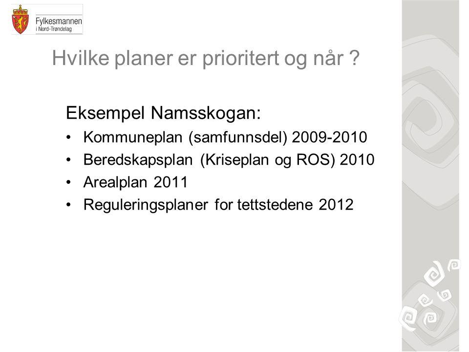 Hvilke planer er prioritert og når ? Eksempel Namsskogan: Kommuneplan (samfunnsdel) 2009-2010 Beredskapsplan (Kriseplan og ROS) 2010 Arealplan 2011 Re