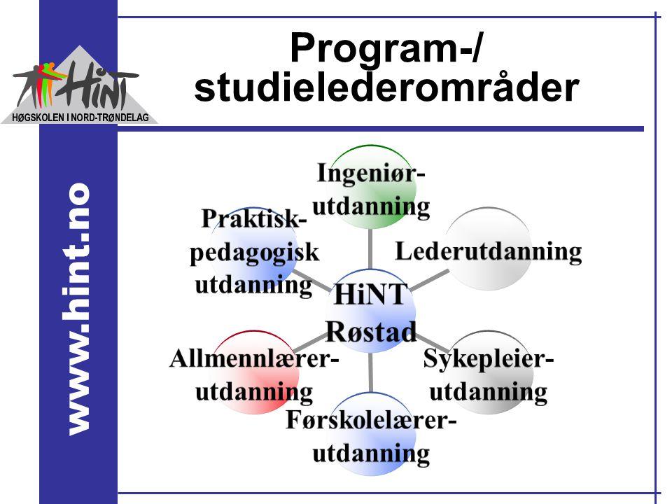 www.hint.no Program-/ studielederområder HiNT Røstad Ingeniør- utdanning Lederutdanning Sykepleier- utdanning Førskolelærer- utdanning Allmennlærer- u