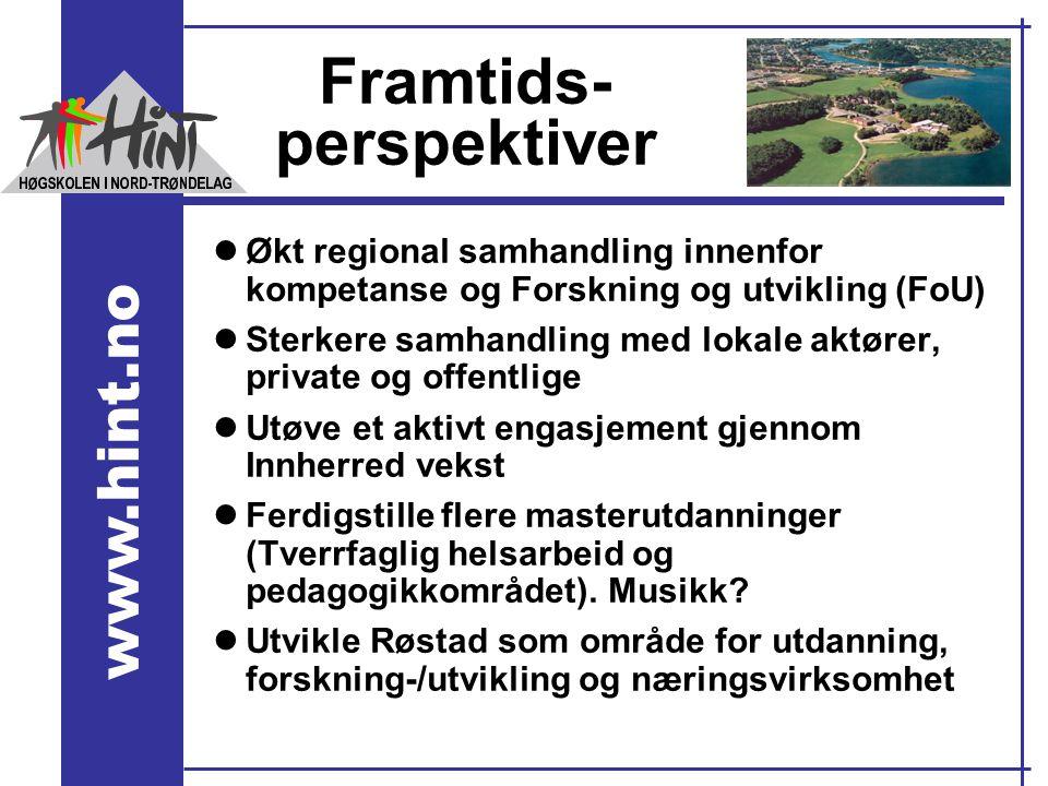 www.hint.no Framtids- perspektiver lØkt regional samhandling innenfor kompetanse og Forskning og utvikling (FoU) lSterkere samhandling med lokale aktø