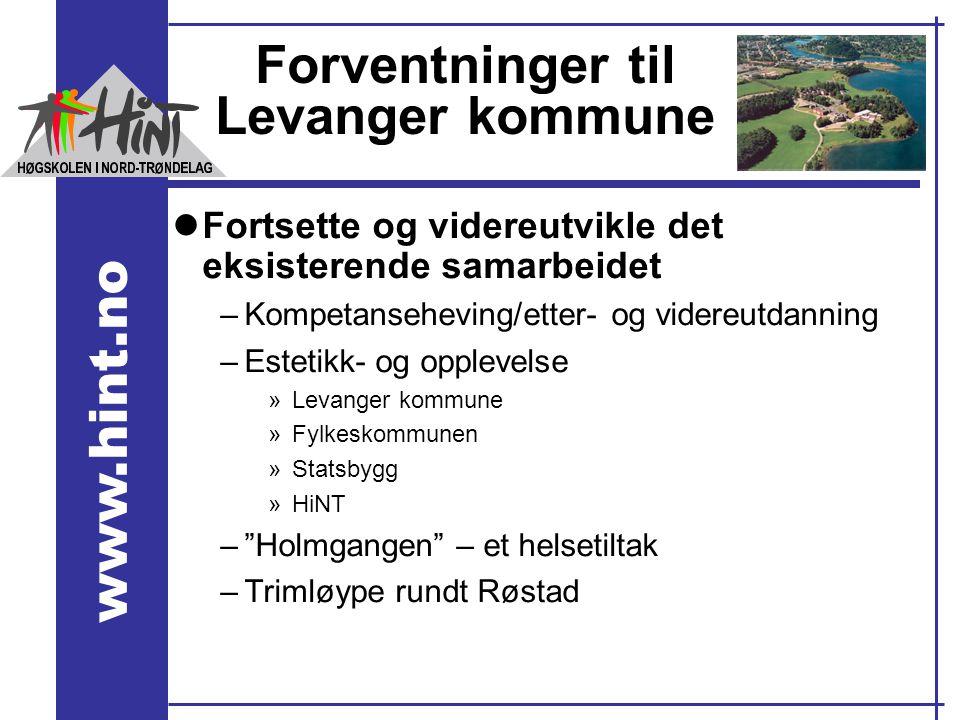www.hint.no Forventninger til Levanger kommune lFortsette og videreutvikle det eksisterende samarbeidet –Kompetanseheving/etter- og videreutdanning –E