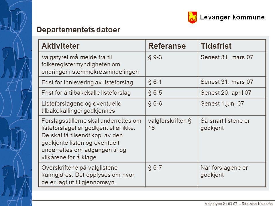 Valgstyret 21.03.07 – Rita-Mari Keiserås AktiviteterReferanseTidsfrist Valgstyret må melde fra til folkeregistermyndigheten om endringer i stemmekrets