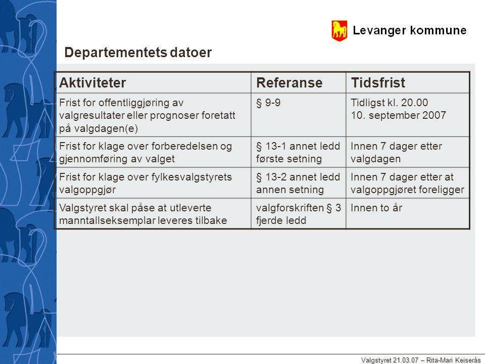 Valgstyret 21.03.07 – Rita-Mari Keiserås AktiviteterReferanseTidsfrist Frist for offentliggjøring av valgresultater eller prognoser foretatt på valgda
