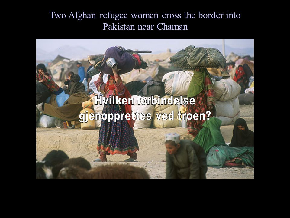 Two Afghan refugee women cross the border into Pakistan near Chaman
