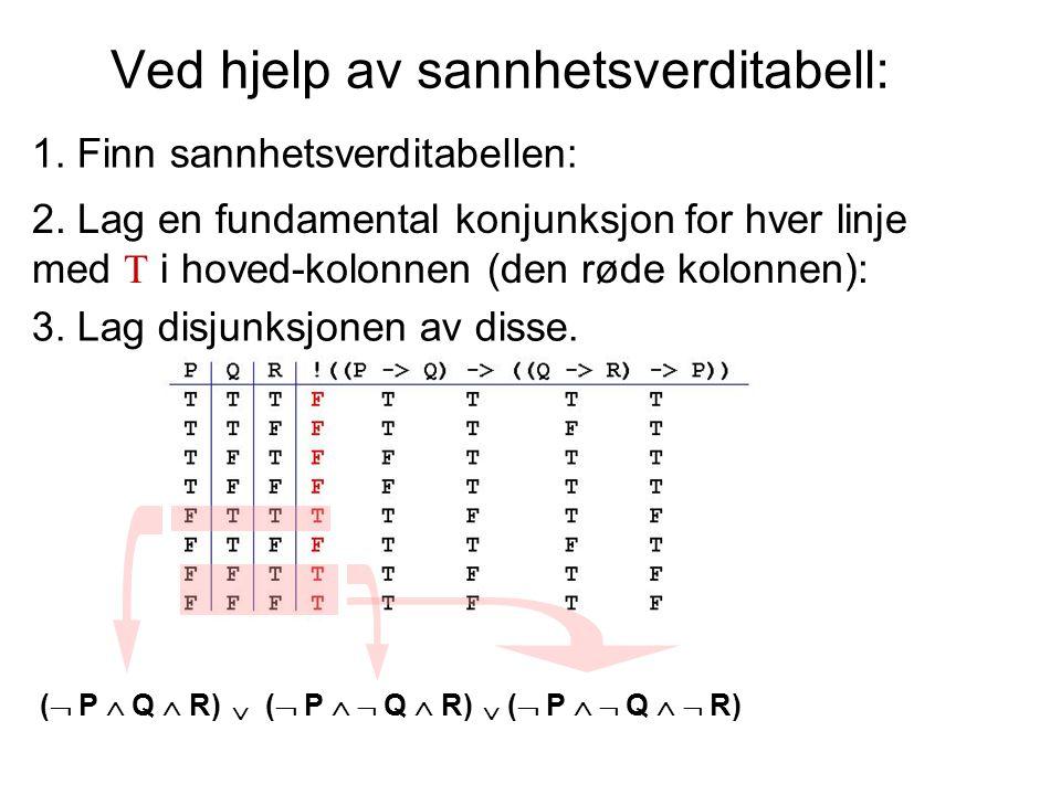 denne metoden sikrer full disjunktiv normalform (… når opprinnelig formel er oppfyllbar…) og viser at  og  og  til sammen er en komplett mengde av konnektiver Enhver formel er ekvivalent til en formel som bare inneholder disse konnektivene.
