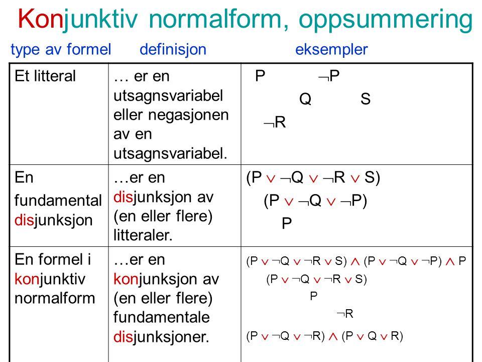 Konjunktiv normalform, oppsummering Et litteral… er en utsagnsvariabel eller negasjonen av en utsagnsvariabel.