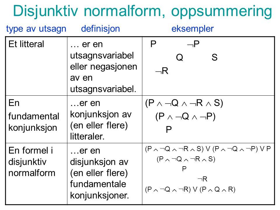 Disjunktiv normalform, oppsummering Et litteral… er en utsagnsvariabel eller negasjonen av en utsagnsvariabel.