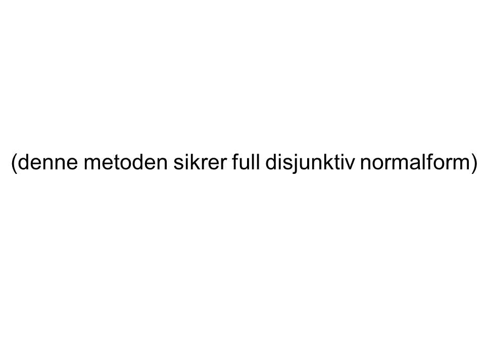 (denne metoden sikrer full disjunktiv normalform)