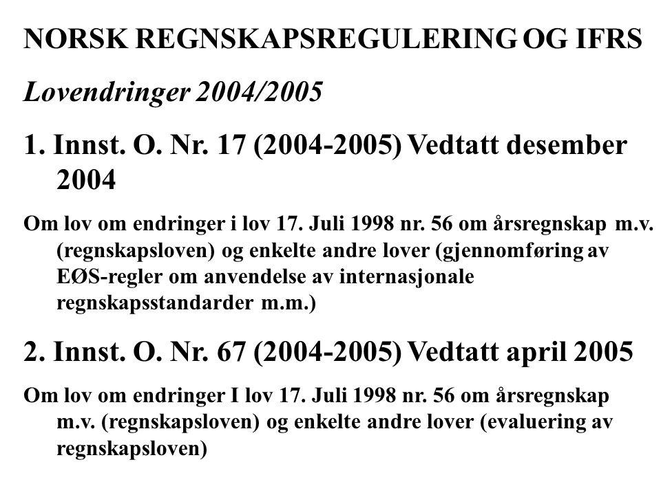 NORSK REGNSKAPSREGULERING OG IFRS Lovendringer 2004/2005 1.