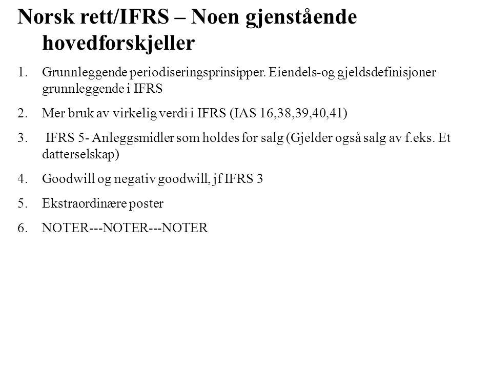Norsk rett/IFRS – Noen gjenstående hovedforskjeller 1.Grunnleggende periodiseringsprinsipper.